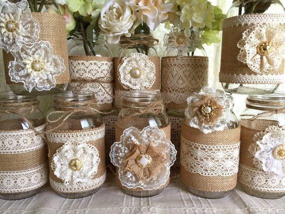 10x natural color lace and burlap covered mason jar di PinKyJubb