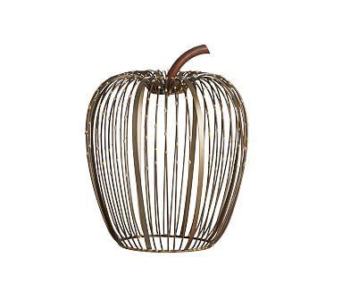 Beaded Wire Pumpkin Hurricane - Weathered Metal, Medium
