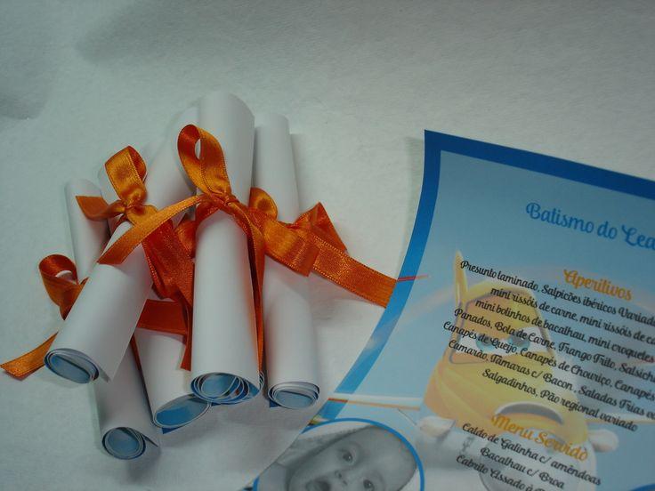 Ementas para Batismo em rolo Custom menu's  Planes decoration party