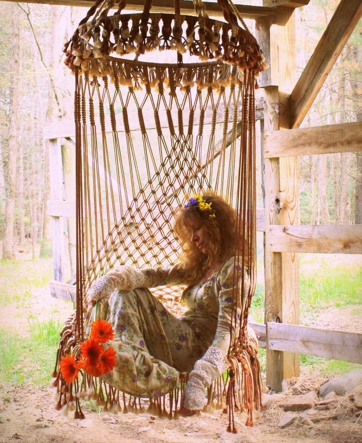 Handmade ooak macrame vintage retro style hanging for Macrame hanging chair