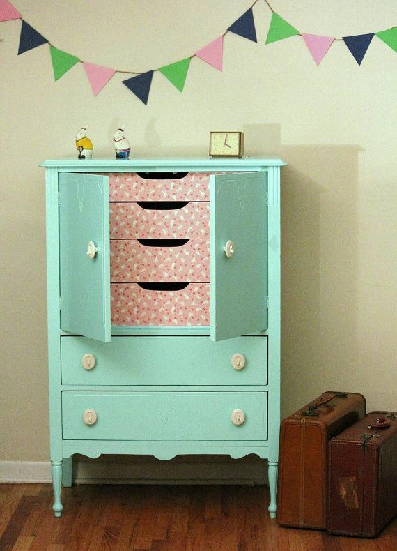 Mint Dresser. Take out the drawers and save to put back for when they get older  and add a clothes rod to hang baby clothes when they are younger.
