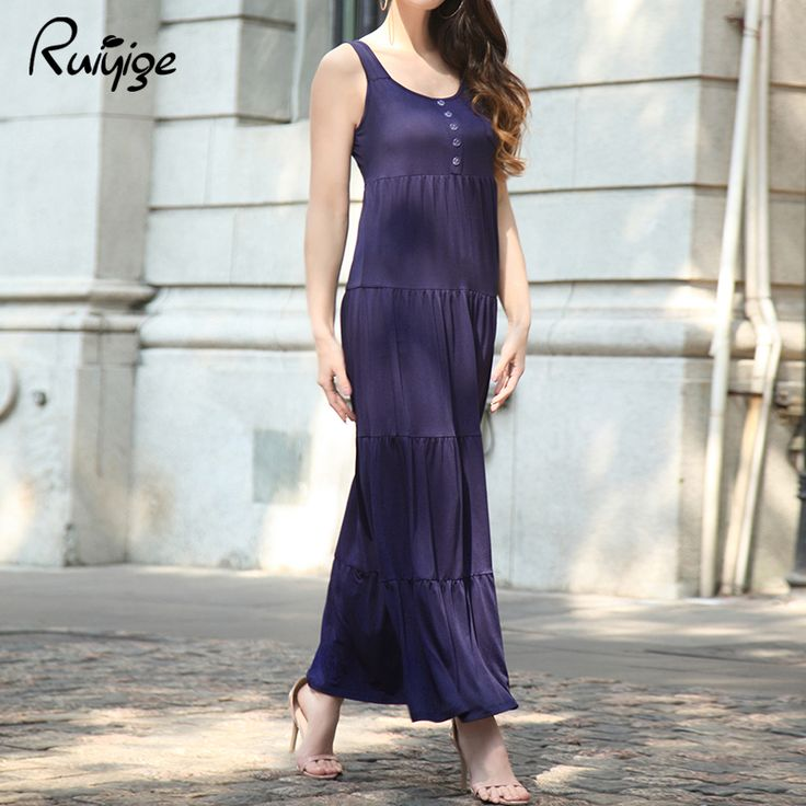 RUIYIGE 2017 Womens Summer Loose Maxi Cami Dresses Solid Colour Ladies Spaghetti Strap Casual Sleeveless Pleated Dress Vestidos