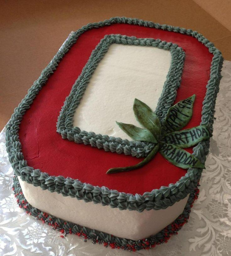 Ohio State Buckeye cake with fondant leaf.