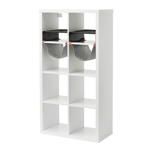IKEA - KALLAX, Shelf unit with 4 inserts, , You can use the inserts to customize KALLAX shelf unit so that it suits your storage needs.You can store everything from bottles and paper napkins to scarves and gloves.Compartments make it easy to organize pens, flatware, etc.Soft felt protects your things and keeps them neatly in place.