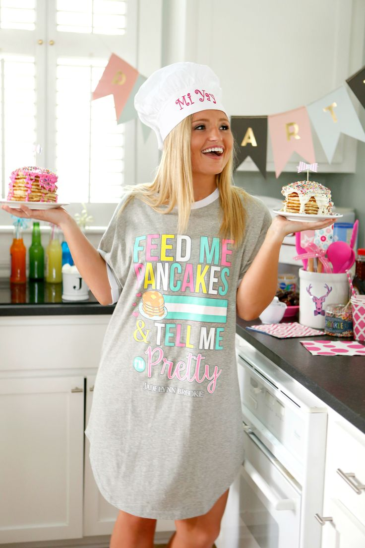 """NEW!!!! """"Feed Me Pancakes & Tell Me I'm Pretty""""  - You know the days where pancakes in bed seems like a necessity? Well it is, and should always be that way! Get yours online at WWW.JADELYNNBROOKE.COM"""