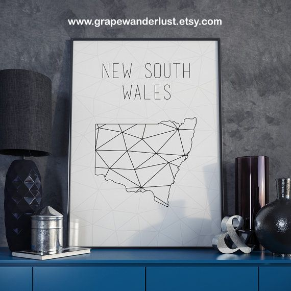 New South Wales map Australia map New South by GrapeWanderlust