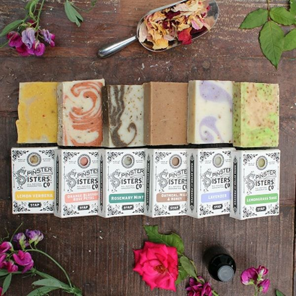 Spinster Sisters soaps are produced in small batches using the cold process soap method. We use a base of olive, coconut, palm (sustainable/organic), castor, apricot kernel and argan oils, and combine that with cocoa butter and fair-trade shea butter for added moisturizing.
