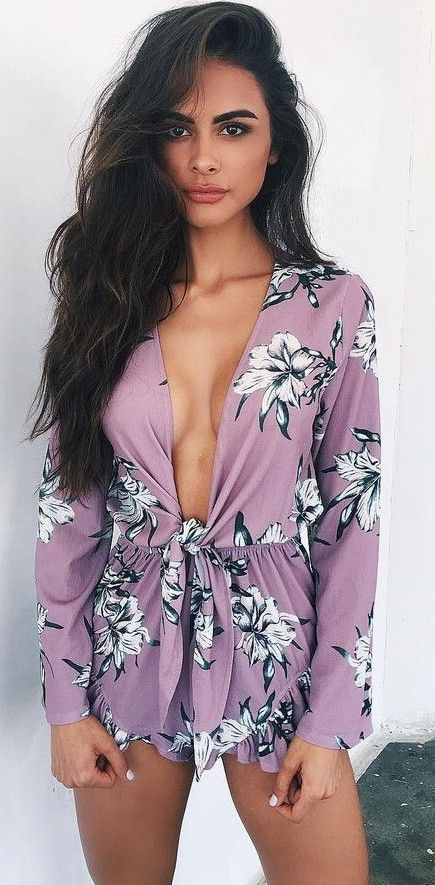 Purple Floral Playsuit                                                                             Source