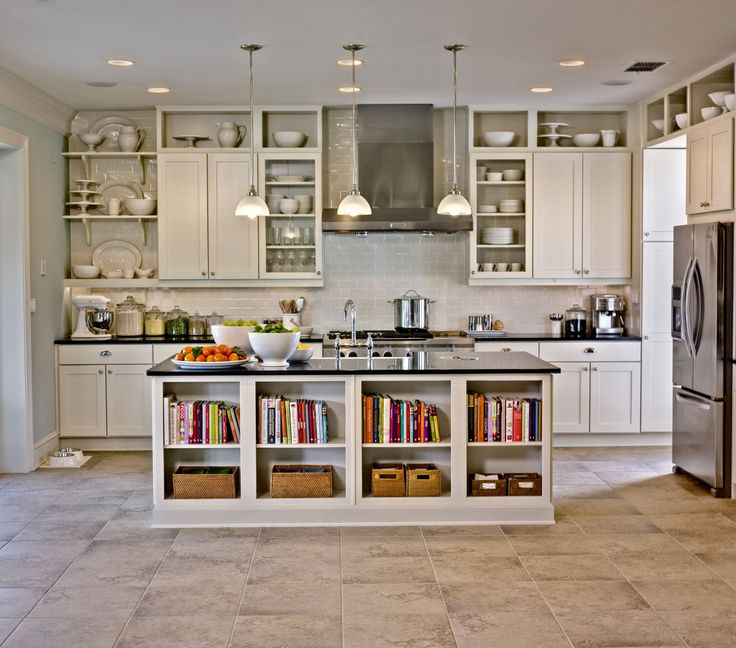 Heavenly Open Kitchen Design With Small Kitchen Island Storage In White Also Open Shelving Kitchen As Storage Feat White Cabinets In Modern Interior Decors
