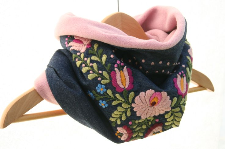 Women tube scarf - cowl scarf - circle scarf - matyo embroidery - pink blue  - denim polar - hand embroidered - made to order by MatyoKid on Etsy