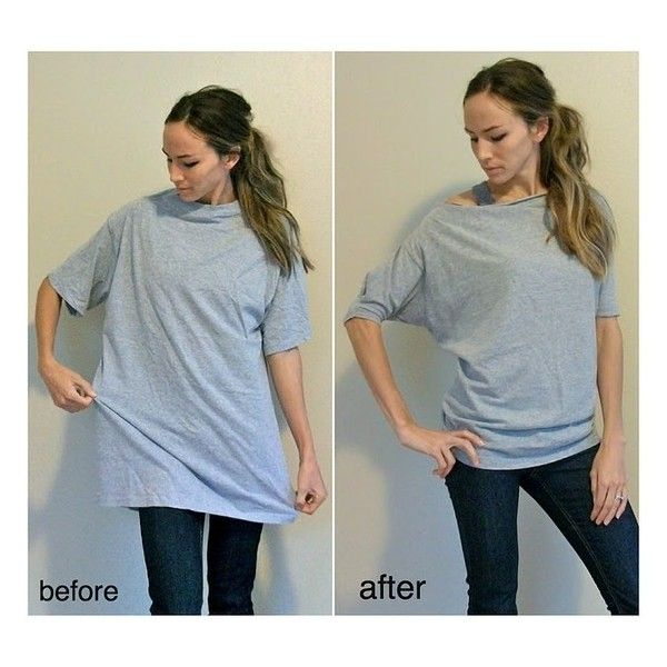 DIY Fashion / DIY Women's Dolman Tee from men's t-shirt found on Polyvore