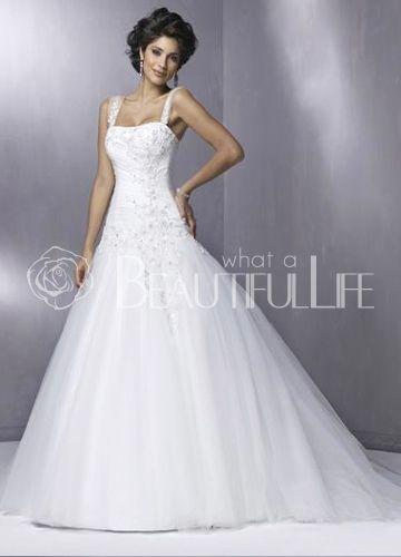$320.99  Alluring Spaghetti Straps Satin #A-Line #Wedding #Dress With Sleeveless Sweep Beading Embellishment