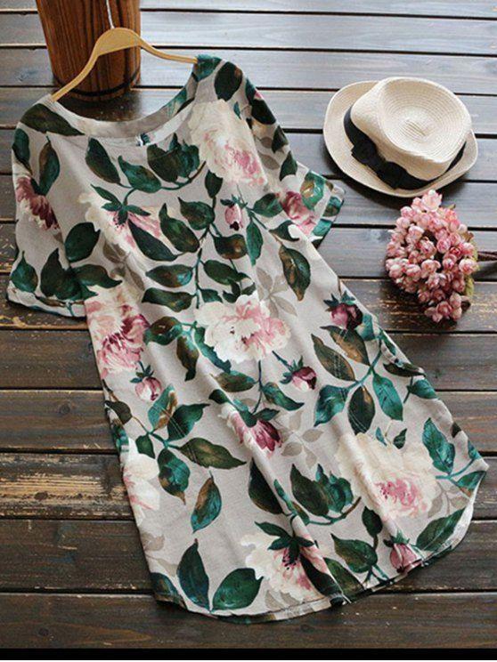927dbe2d849 FEIBUSHI Print Flower Shirts Floral summer tops Women long sleeve Cotton  Shirt Blouse Dress White Plus