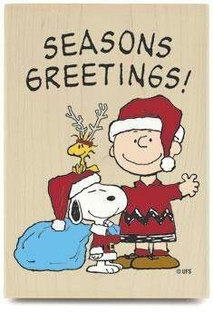 Seasons Greetings! From Charlie Brown, Snoopy and Woodstock. And to all my fellow pinners.....:)