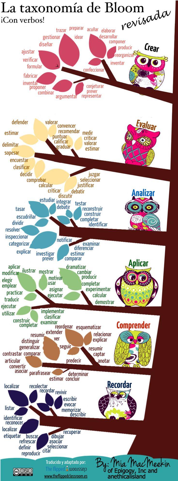 La taxonomía de bloom desarrollada con la ayuda de verbos.