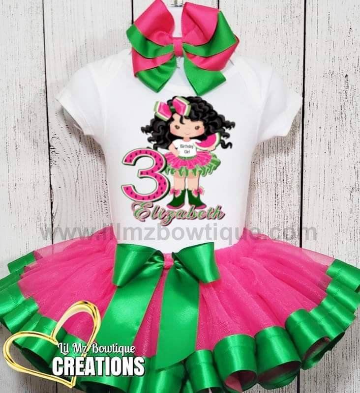 Cute Watermelon themed custom made birthday tutu set