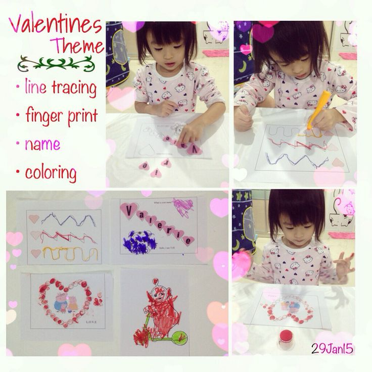 Tot school Valentines theme: line tracing, name learning, finger print on love surround peppa pig, teletubbies coloring