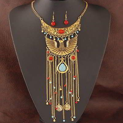 Owl Decorated Tassel Design Bohemian Gold Color