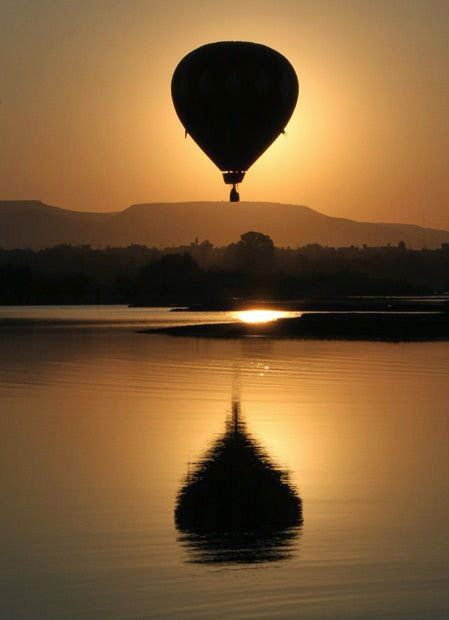 ride in a hot air balloon-sunset