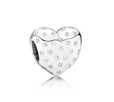 Pandora Official British Heart Foundation Sparkling Heart Charm 791241CZ at John Greed Jewellery