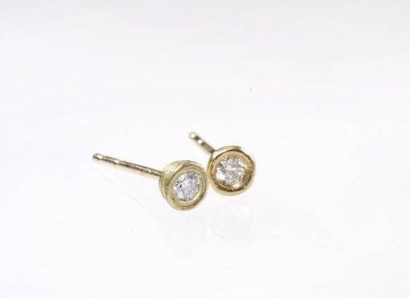 Excited to share the latest addition to my #etsy shop: Diamond Earring, Gold And Diamond Earrings, Stud Diamond Earrings, Round Diamond Earrings, Post Diamond Earrings, Real Diamond Earrings