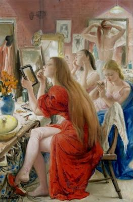 Ballerinas At the Make-Up Table, by Dame Laura Knight (English, 1877-1970)