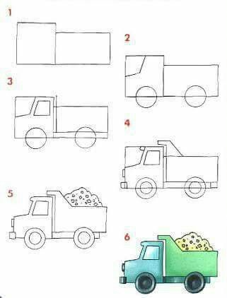 how to draw a cartoon truck
