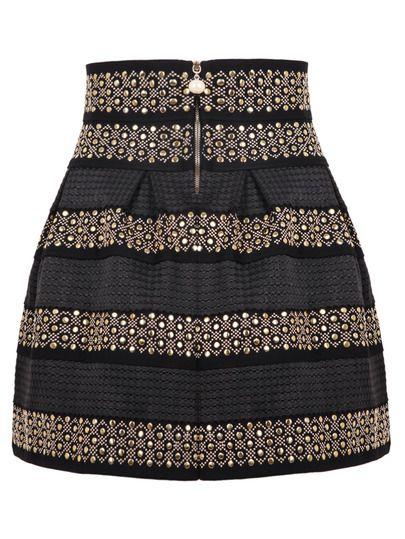 Shop Black High Waist Rivet Studs Striped Skirt online. SheIn offers Black High…