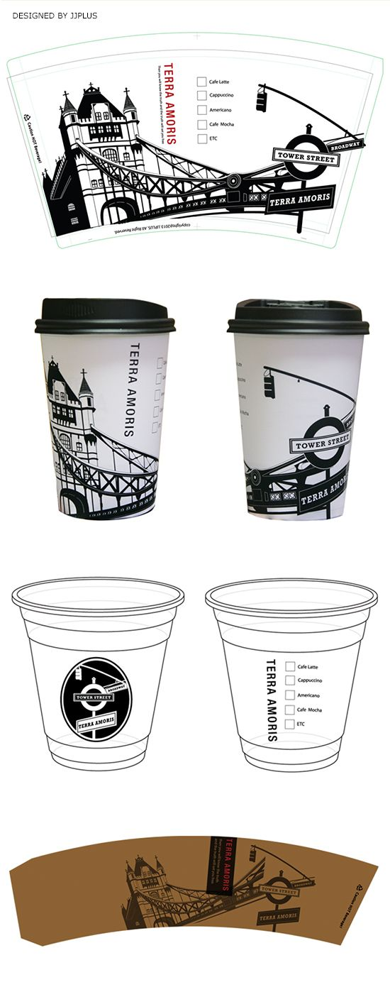 cafe design, paper cup design, london brige, ice cup design, sleeve design, jjplus design