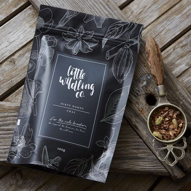 It's a Dirty Dandy Chai kinda morning... #littlewildlingco - Tea Packaging | Matte Black Stand Up Pouches