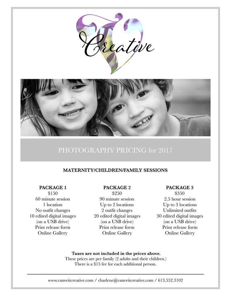 Family Session  Photography Pricing Template Van Veit Creative