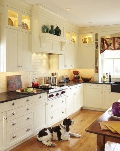 Kitchen Cabinet Uppers: Lighted Upper Cabinets With Beadboard On Back Wall Of