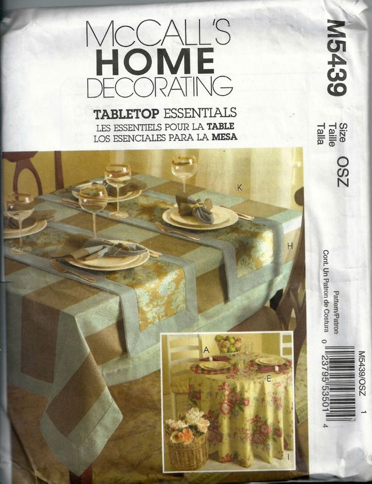 Mccalls Home Table Decorating Sewing Pattern M5439 Unused