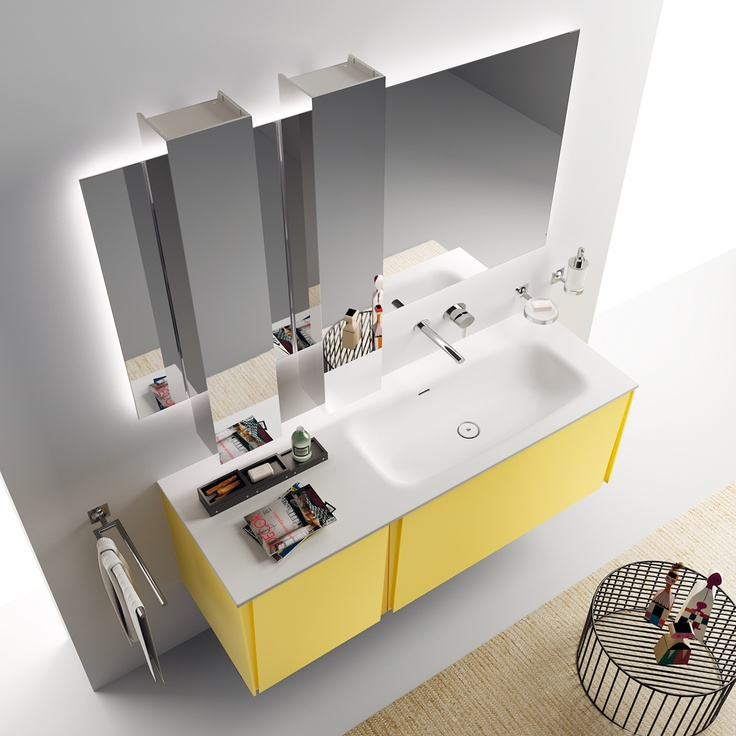 Lagu Collection by Scavolini Bathroom. Something is changing in the #bathroom world. Lagu project: vertical angled grooves for door openings. The #bathroom according to Scavolini.  #ScavoliniBathroom
