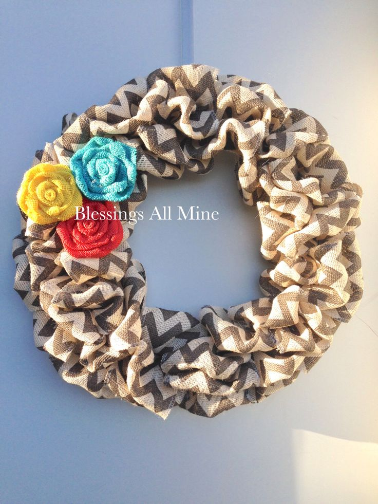 19 inch Chunky White and Gray Chevron Burlap Wreath, Yellow, Bright Teal Turquoise, Coral Flowers, Spring Summer Fall Autumn Winter Wreath by BlessingsAllMine on Etsy https://www.etsy.com/listing/287892933/19-inch-chunky-white-and-gray-chevron