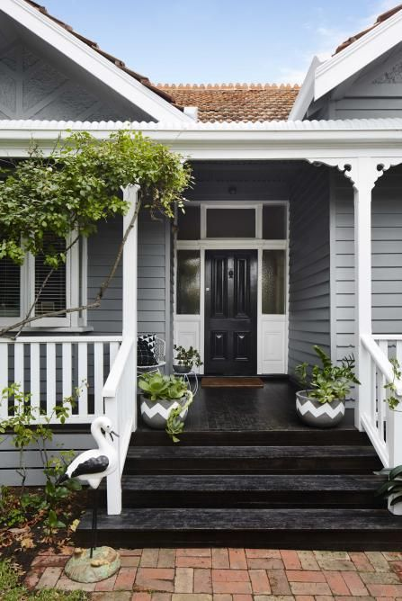 Haynes Wood Grey on weatherboards white trim and black front door and steps, then just add greenery. #exteriorpaintcolours
