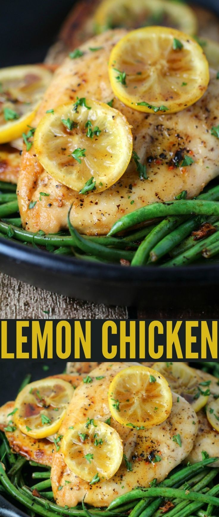This lemon chicken recipe is a bright, fresh spring dinner recipe that pairs well with fresh vegetables and a side of rice.:
