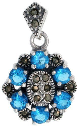 Sterling Silver Marcasite Flower Pendant, w/ Blue Topaz Color CZ Stones, 1 1/16 inch (27 mm) tall Sabrina Silver. $27.45