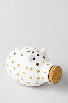 Gold Polka Dot Piggy Bank