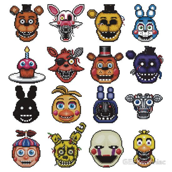 HERE WE GO: Freddy. Mangle. golden freddy. toy bonnie. cupcake. foxy. toy freddy. shadow freddy. shadow bonnie. toy chica. bonnie. bare endo. bb. springtrap. marionette. chica. yeah, got em all. that was easier than when i tried to name the sonic characters.