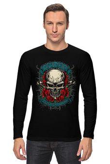 """Лонгслив """"Череп"""" - черепа, в подарок, розы, металл, байкеру"""