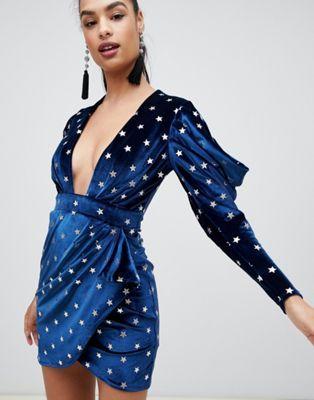 472f976ee409 DESIGN star printed velvet mini dress | wishlist | Sequin mini dress ...