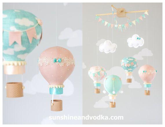 Globo de aire caliente, bebé móvil, tema de viaje, vivero Decor, guardería móvil, Blush rosa, turquesa y marfil, i184