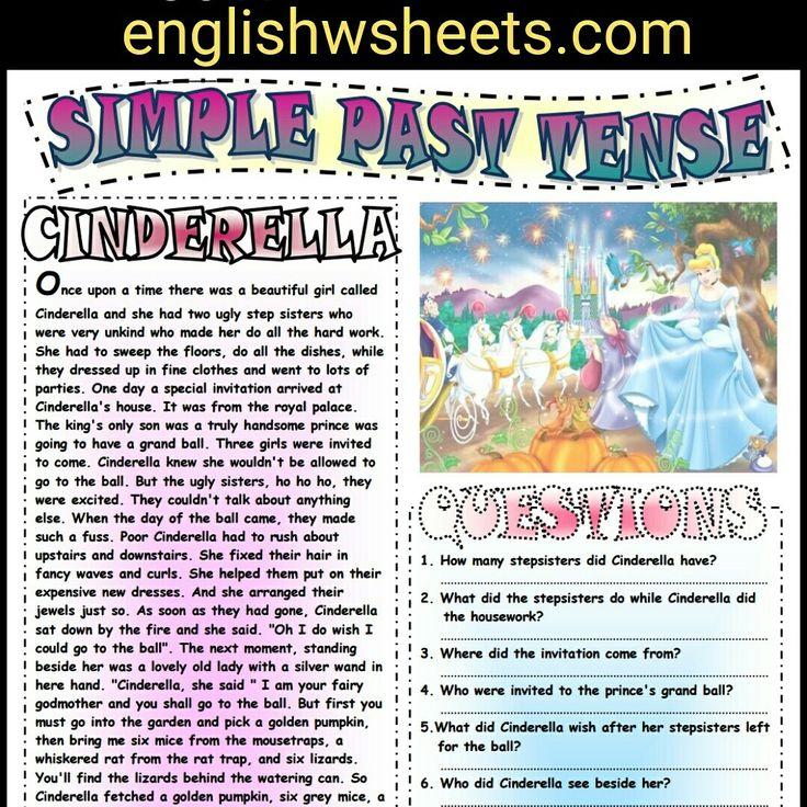 Cinderella Esl Printable Fairy Tale and Comprehension Questions. #cinderella #fairytale #fairy #tale #esl #printable #questions #worksheet #quiz #reading #kids #forkids #englishwsheets #efl #tefl #esol #tesol #elt #learningenglish #learnenglish #teachingenglish #teachenglish #eslforkids #classroom #activity #simple #past #tense #simplepast