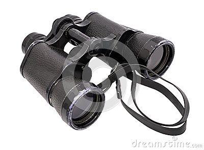 Big binoculars horizontal with white background