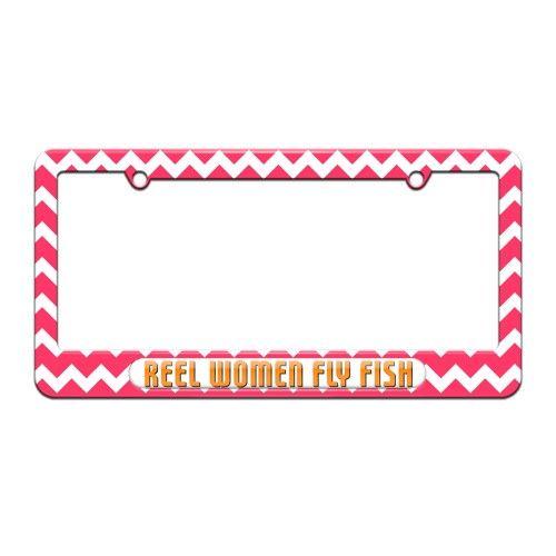 REEL WOMEN FISH real pink  License Plate Frame