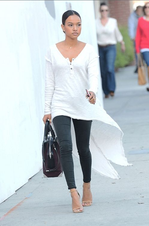 Wardrobe Query: Karrueche Tran's Truly Madly Deeply Extreme High/Low White Henley Top