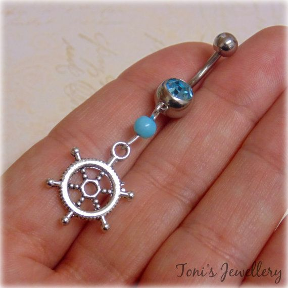 Ship Wheel Belly Button Ring  Stainless Steel Rhinestone