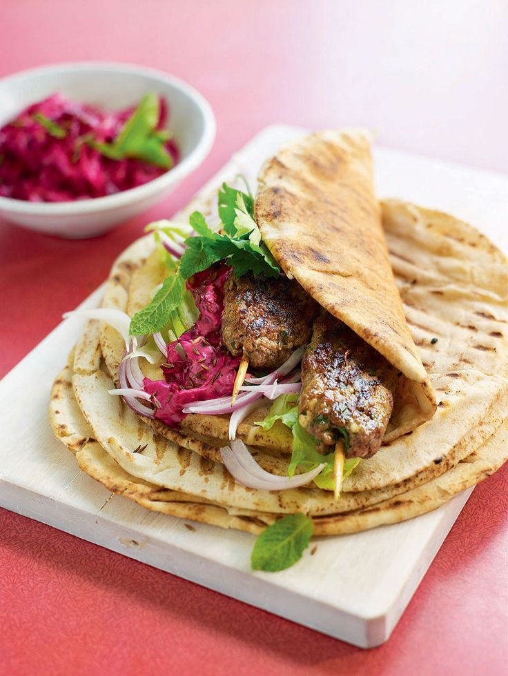 This souvlaki wraps with beetroot tzatziki recipe is a twist on a Greek classic.