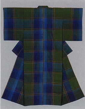 "Kimono of tsumugi weave titled ""Ise"" by Shimura Fukumi, Japanese National Living Treasure"